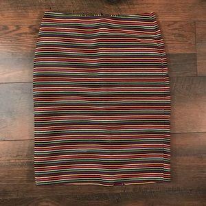 Talbots color stripe midi pencil skirt